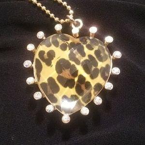 BJ leopard aurora pendant heart necklace